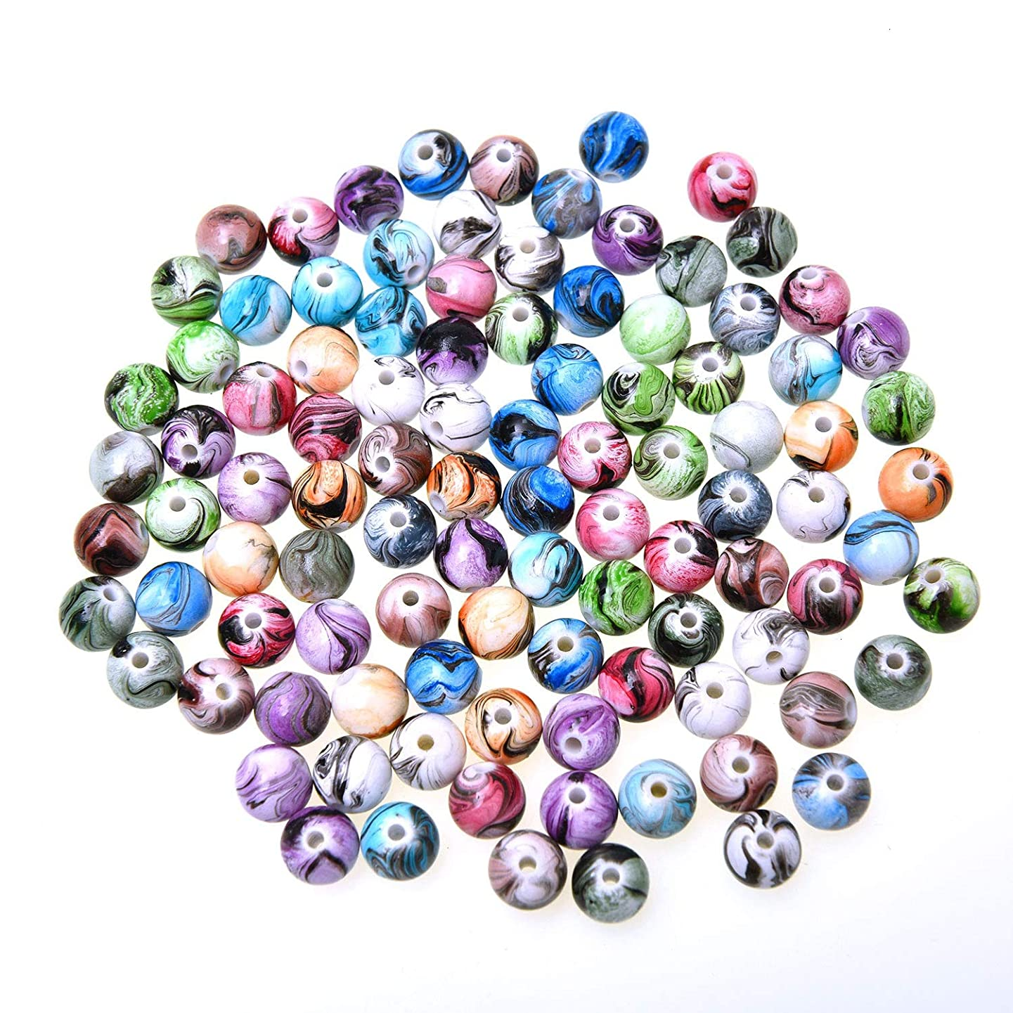 Monrocco 100pcs 8mm Multi Color Acrylic Round Loose Beads in Ink Patterns