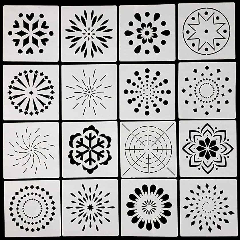 Mandala Dotting Stencils Template - Reusable Mandala Dot Painting Stencils for Painting on Wood, Airbrush and Walls Art, 16 Pack
