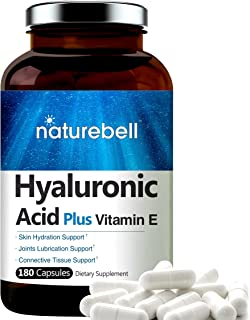 NatureBell Hyaluronic Acid with Vitamin E, 125mg,180 Capsules, Supports Antioxidant, Skin Hydration and Joints Lubricatio...