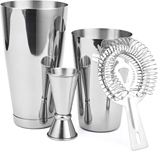 Cresimo Boston Shaker 4 Piece Cocktail Making Set: 18oz Unweighted & 28oz Weighted Professional Bartender Cocktail Shaker ...