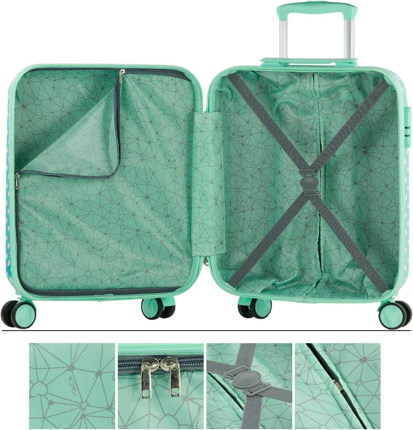 702435 Color Talpe di menta Qualit/à e design N/écessaire grande di viaggio in policarbonato stampato Borsa da bagno con specchio Infantile giovanile Parte di un set di valigie ITACA