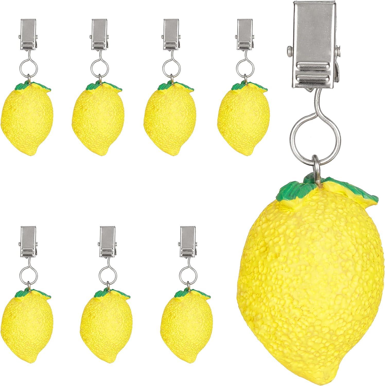 Relaxdays Mantel de limón, Juego de 8 Unidades, polirresina, para Exterior e Interior, Pesos de Mesa, Color Amarillo, 8er Set