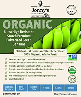 Organic Prebiotic Resistant Starch Superfood | Ultra High Resistant Starch Premium Pulverized Green Bananas | On Average [10x's] More Prebiotic Fiber Than Any Other Green Banana Flour On The Market