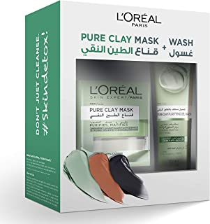 L'Oreal Paris Pure Clay Green Mask & Wash - Purifying Routine