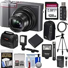 Panasonic Lumix DMC-ZS100 4K Wi-Fi Digital Camera (Silver) with 128GB Card + Cases + Battery + Charger + Tripod + Flash + Kit