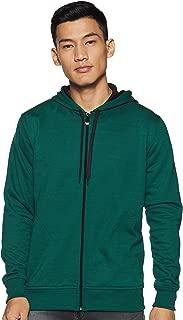 WOKNIT Men's Hooded Zipper Full Sleeve Bottle Green Sweatshirt
