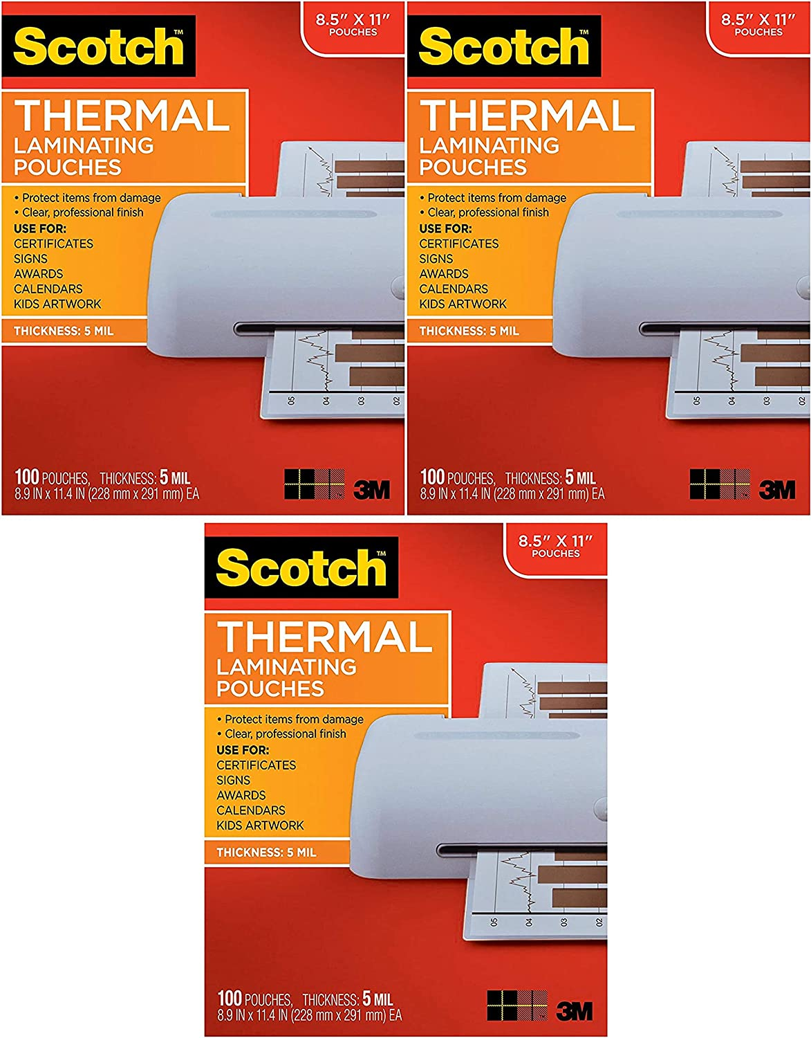 5 Mil Thick for Extra Protection 8.9 x 11.4 inches Clear Scotch Brand Thermal Laminating Pouches New TP5854-100 100-Pack Letter Size Sheets