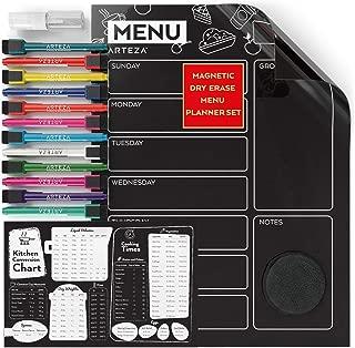 ARTEZA Dry Erase Magnetic Chalkboard Menu Planner Set (16