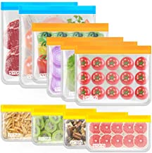 Reusable Storage Bags,10 Pack PEVA Fresh-keeping Sealed Bags,Leakproof Freezer Bags(2 Gallon Bags+4 Sandwich Bags+4 Snack ...