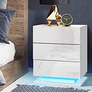 Artiss 3-Drawer LED Bedside Table, Wooden Bedside Drawers Nightstand, White