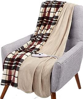 Biddeford Electric Throw Blanket Microplush Reversible Linen Plaid