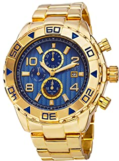 August Steiner Men's Multifunction Watch - Textured Dial with Big Number Hour Markers and Day of Week, Month of Year, and 24 Hour Subdial + Bonus Hand and Date Window - AS8130