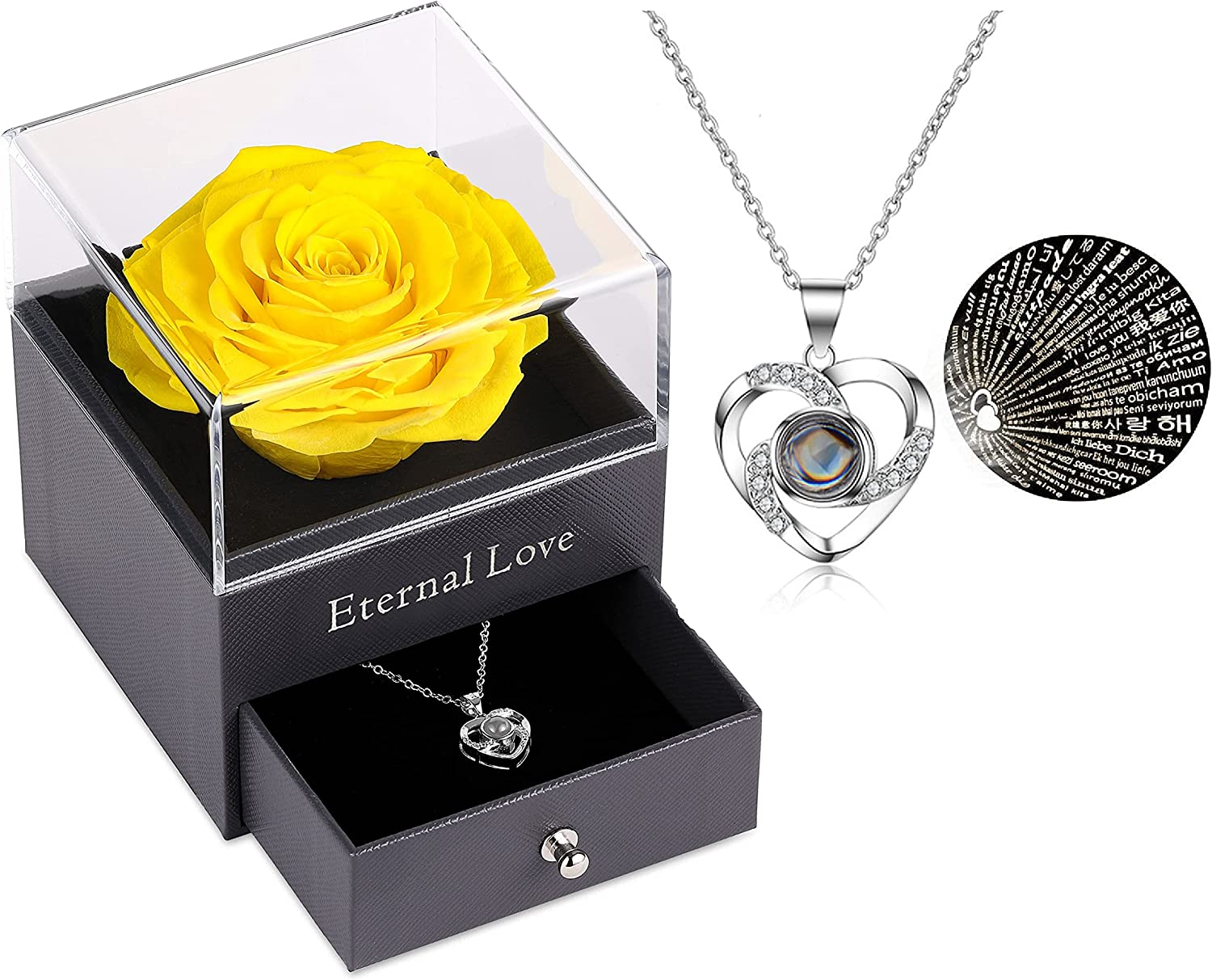 Topics on TV Preserved Real Rose with Silver-Tone Heart Milwaukee Mall Necklace You i Love I