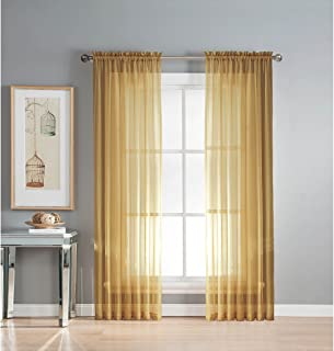 Window Elements Sheer Voile Rod Pocket Extra Wide 54 x 63 in. Curtain Panel, Gold