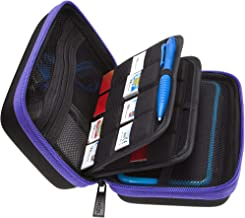 BRENDO Carry Case Compatible with Nintendo 2DS XL + Large Stylus and 24 Game Cartridge Holders - Purple/Black