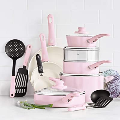 Cookware Pots and Pans Set, 16 Piece, Pink