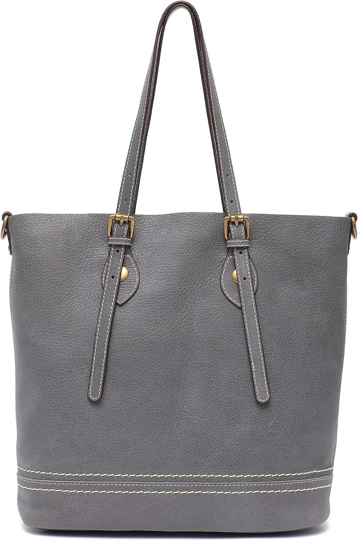 Genuine Leather Women's Shoulder Bag STEPHIECATH Large Casual Soft Real Leather Skin Tote Vintage Snap Basket Carry Bag (GREY)