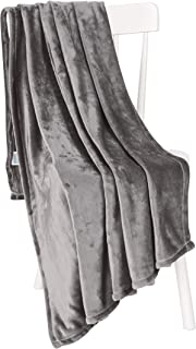 Chiara Rose Super Soft Throw Blanket Flannel Fleece Cozy Plush Velvet Faux Fur Fluffy Lightweight Solid Smoke