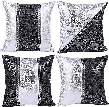 JOTOM Housse de Coussin Licorne Géométrie Feuilles et Fleur Motif Taie d'oreiller pour Canapé Maison Salon Chambre Décora