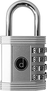 Padlock - 4 Digit Combination Lock for Gym, Sports, School & Employee Locker, Outdoor, Fence, Hasp and Storage - All Weather Metal & Steel - Easy to Set Your Own Keyless Resettable Combo - Silver
