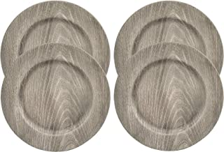 Rustic Distressed Farmhouse Faux Wood 13 in. Charger Plates in Gray Finish - Pack of 4