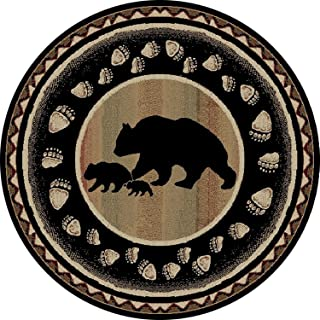 Rug Empire Take the Lead Rustic Lodge Area Rug, Black Bear, Round