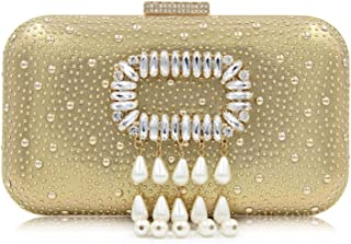 Ladies Rhinestone Imitation Pearl Smooth Banquet Evening Bag Shoulder Diagonal Chain Handbag Wedding Party Celebration Clutch Bag Size: 16 * 6 * 12cm Fashion (Color : Gold)