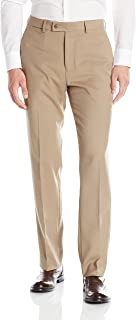 Louis Raphael ROSSO Men's Flat Front Easy Care Dress Pant with Hidden Flex Waistband