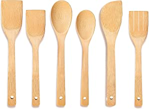 KITCHETTOO Wooden Spoons for Cooking 6-Piece Bamboo Utensil Wood Spatula Spoon Nonstick Kitchen Utensil Set Housewarming G...