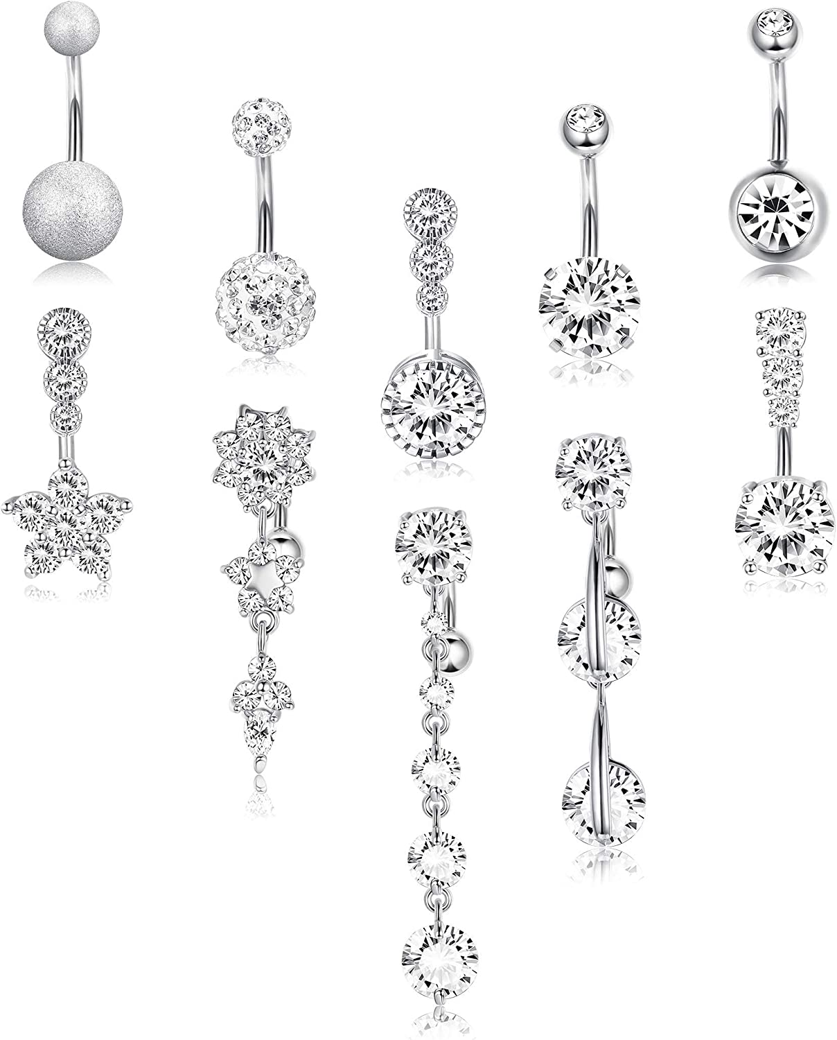FIBO STEEL 10 Pcs Dangle Belly Surgi Rings Max 73% OFF for store 316L Button Women