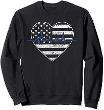 Thin Blue Line Heart Flag Heartbeat Police Wife  Sweatshirt