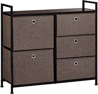 LANGRIA Faux Linen Wide Dresser Storage Tower with 5 Easy Pull Drawer and Handles, Sturdy Metal Frame, and Wooden Table, Organizer Unit for Guest, Dorm Room, Closet, Hallway, Office Area (Dark Brown)