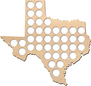 Texas Beer Cap Map - 14x13 inches - 38 caps - Beer Cap Holder Texas - Plywood …