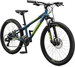Mongoose Switchback Kids Mountain Bike with 24-Inch Wheels in Navy Blue, Aluminum Hardtail Frame, 8-Speed Drivetrain, and Mechanical Disc Brakes