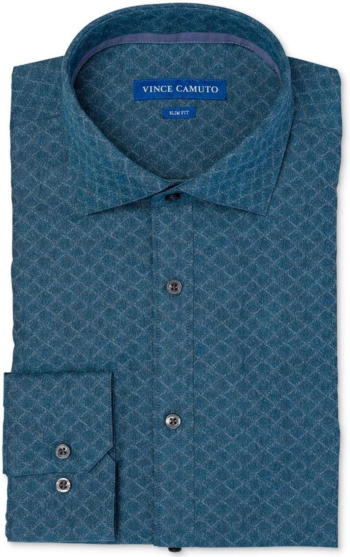 Vince Camuto Mens Jacquard Button Up Dress Shirt Turquoise 17.5
