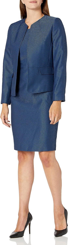 Le Suit Women's Jewel Neck Open Seamed Jacket Dot Jacquard Sheath Dress Suit