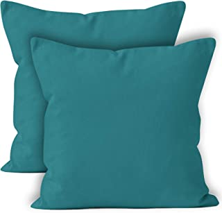 Encasa Homes Throw Cushion Cover 2pc Set - Azul Blue - 20 x 20 inch Solid Dyed Cotton Canvas Square Accent Decorative Pillow Case for Couch Sofa Chair Bed & Home