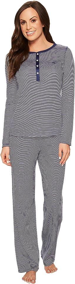 LAUREN Ralph Lauren Long Sleeve Waffle Henley Pajama