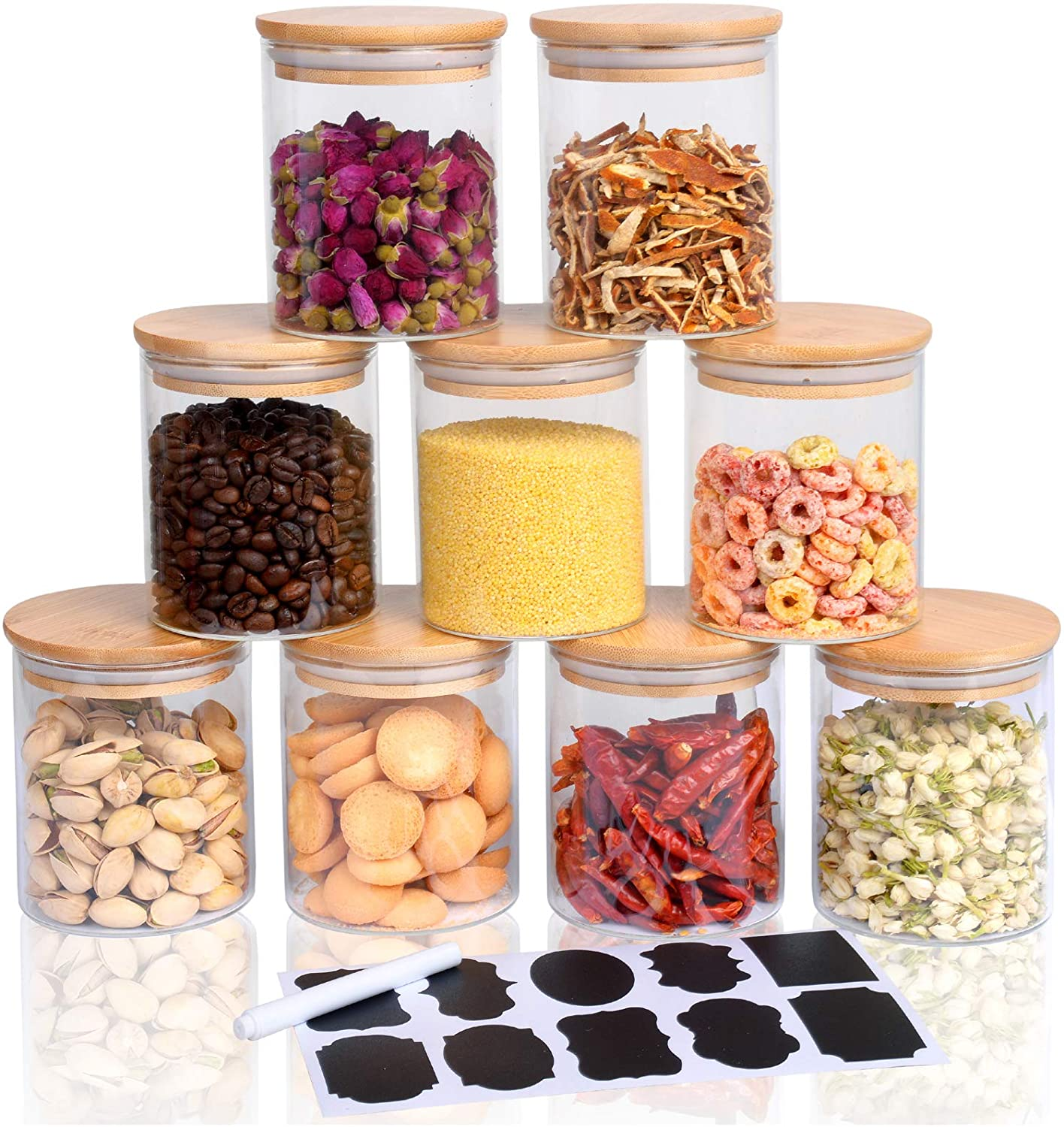 Hoanra 9 Piece Glass Storage Jars with Popular Ranking TOP4 popular Airtight Bamboo Lids Set