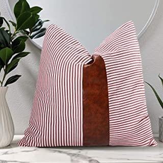 CARLOTA Farmhouse Striped Couch Throw Decorative Pillow Covers with Faux Leather Boho Modern Decor Ticking Aceent Pillow Cushion Cases 18x18 inches (Red)
