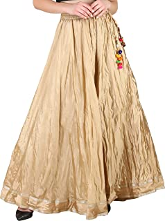 Women's Flared Crushed Silk Free Size Wide Leg Skirt High Waist Sharara