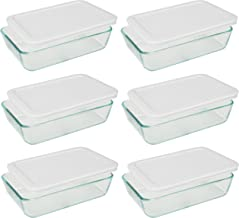 Pyrex 3-cup Rectangle Glass Food Storage Containers With White Plastic Lids.Use For Lunch Box, Storage Food,And Baking Dis...