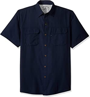 Men's Explorer Short Sleeve Button Down Fishing Shirt Solid Flap Pocket