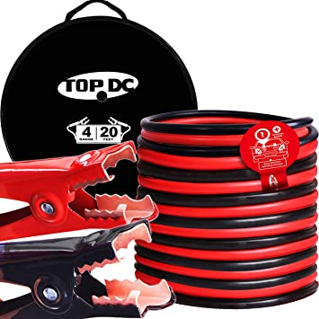 TOPDC Jumper Cables 4 Gauge 20 Feet -40℉ to 167℉ Heavy Duty Booster Cables with Carry Bag (4AWG x 20Ft): image