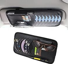 SunTrade Car Universal Sun Visor Organizer Pocket Storage Pouch,CD Sunglasses Visor Organizer,PU Leather(Style 1, Black)