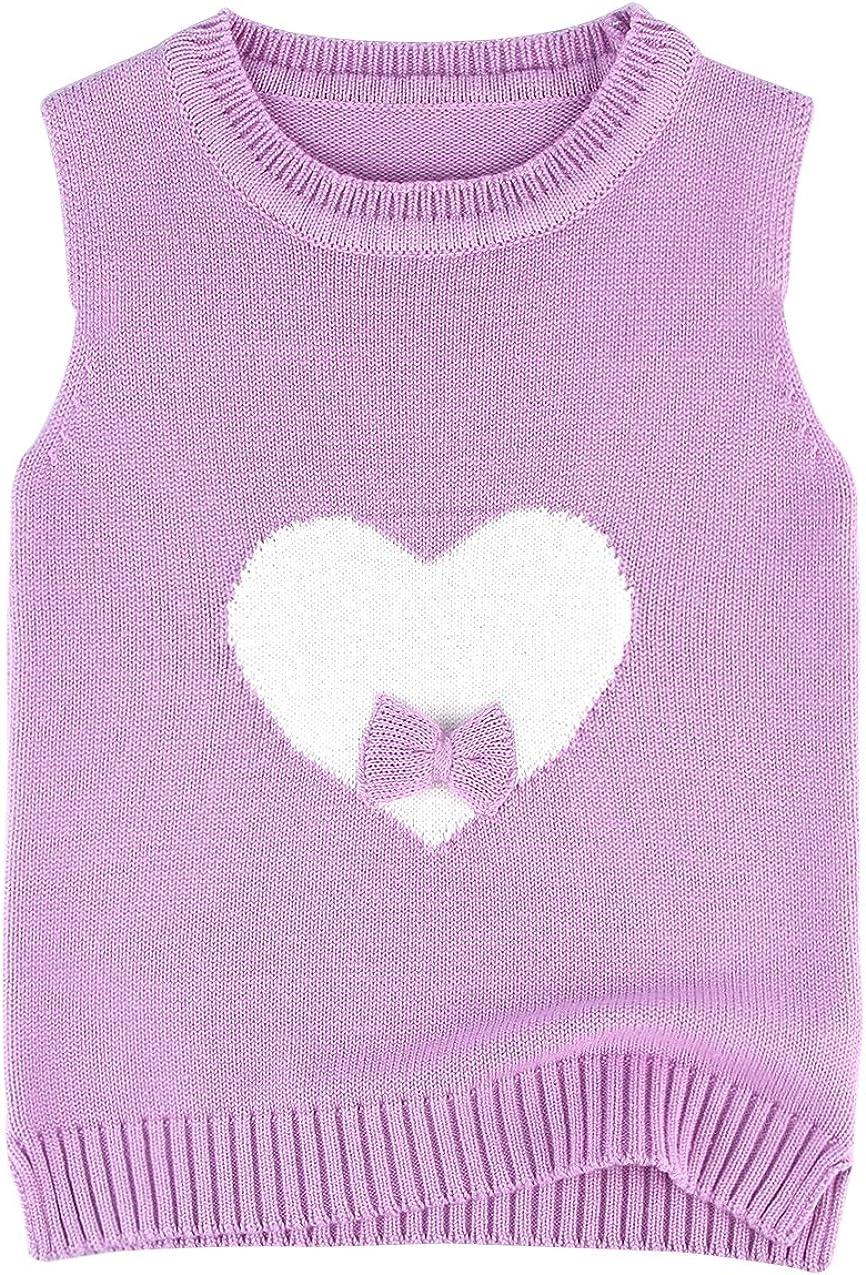 EOZY Gilet da bambina in cotone a forma di cuore