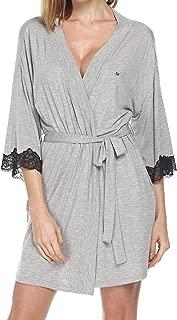 Women's Kimono Robe Short Lightweight Viscose Knit Bathrobe (S-XXL)