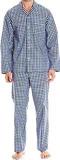 Savile Row Men's Pyjama Set - 100% Cotton Soft Long Sleeve Top & Bottom Pants Classic Casual Loungewear PJ Nightwear Sleep...