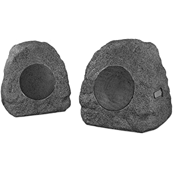 Pair Innovative Technology ITSBO-358P5 Premium 5W Bluetooth Outdoor Rock Speakers with A//C Adaptor /& Built in Rechargeable 5200mAh Battery Charcoal