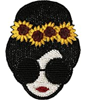 Alice + Olivia - Stace Face with Sunflowers Beaded Brooch